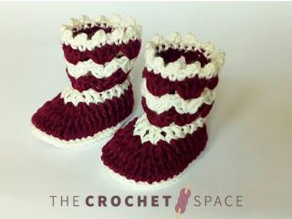 60 minutes Crochet Baby-Booties || thecrochetspace.com