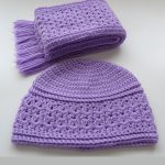 Accessory Crochet Fall Set. Folded scarf at top of image with hat below. Crafted in lilac    thecrochetspace.com