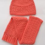 Accessory Crochet Fall Set. Hat at top of image with folded scarf below. Crafted in rust color.    thecrochetspace.com