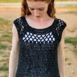 Adult Midnight Crochet Top. Front view, no sleeves || thecrochetspace.com