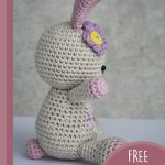 Amigurumi Loved Happy Bunny. Side and back view of bunny, with pink bob tail || thecrochetspace.com