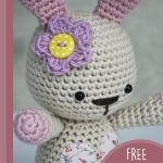 Amigurumi Loved Happy Bunny, Close up of bunny face and attached accent flower || thecrochetspace.com
