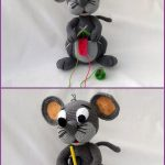 Amigurumi Patty Pocket Mouse. Stand up Character mouse image in two parts. Upper image mouse is knitting some red yarn. Bottom image she has a yellow pencil in her front pocket || thecrochetspace.com