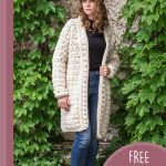 Angelic Long Crochet Jacket . Crafted in cream over blue jeans and blue sweater || thecrochetspace.com