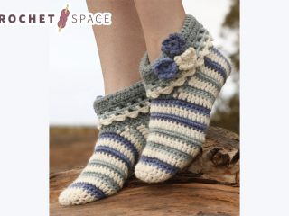Annabelle Crocheted Striped Slippers    thecrochetspace.com