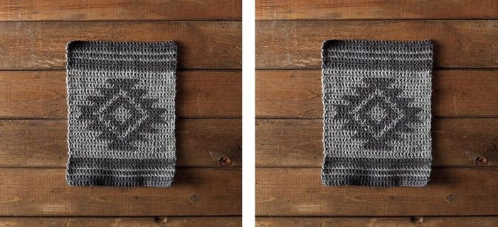 Tribal Aztec Crochet Dishcloth | thecrochetspace.com