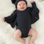 Baby Bat Crochet Set. Crafted in black, long sleeved romper suit with bat wings and matching hat || thecrochetspace.com
