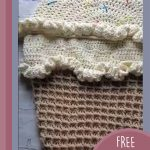 Baby Crochet Snuggle Sack. Beige cone with cream double scoop on top || thecrochetspace.com