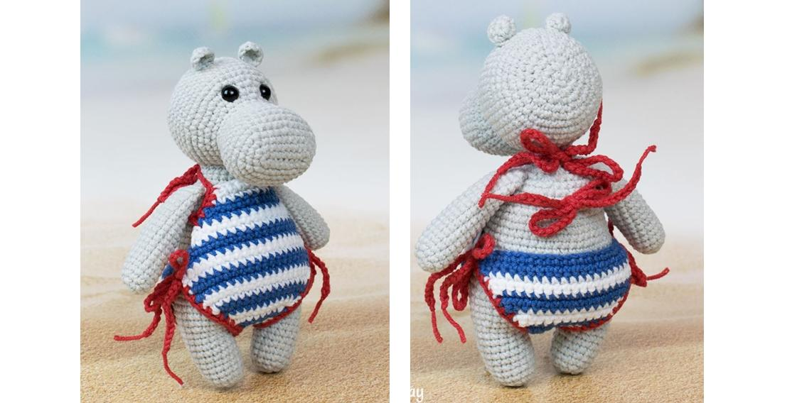 Hippo in swimsuit crochet pattern - Amigurumi Today | 568x1128