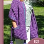 Beginners Crochet Pocket Wrap. Side view with hands in pockets || thecrochetspace.com