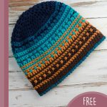 Best Beach Crochet Beanie. Against a wooden background and laid out at an angle || thecrochetspace.com