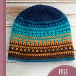 Best Beach Crochet Beanie. Crafted in 5 colors, blues and mustard || thecrochetspace.com