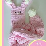 Best Bunny Finger Scarf. Baby pink scarf with ears and tail || thecrochetspace.com