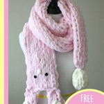 Best Bunny Finger Scarf. Curled up bunny scarf || thecrochetspace.com