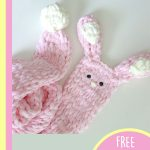 Best Bunny Finger Scarf. Pink bunny scarf with white pompom for tail and white in ears || thecrochetspace.com