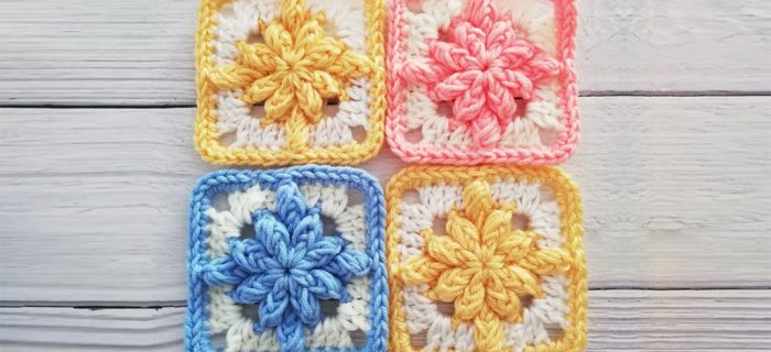 Bobble Flower Crochet Square || thecrochetspace.com