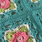 Bonne Belle Crochet Square. Joined into a throw. Four squares visible    thecrochetspace.com
