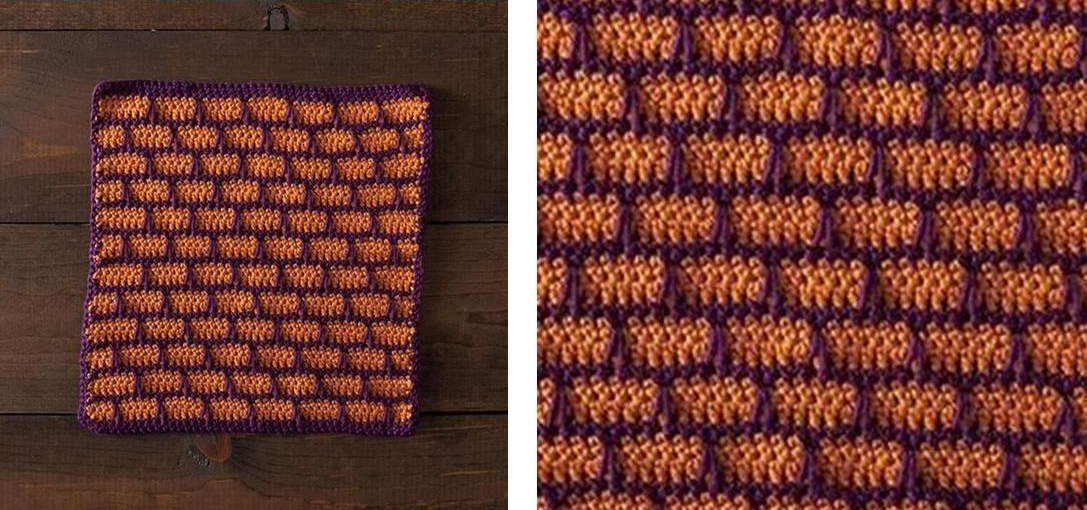 Crocheted Another Brick Wall Dishcloth | thecrochetspace.com