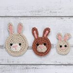 Bunny Face Crochet Applique Just 3 Bunny Faces In The 3 Different Sizes || thecrochetspace.com