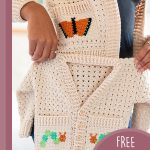 Butterfly Crochet Cardigan Set. Adult and children's cardigan. Butterfly on adult pocket and catterpillar on childs    thecrochetspace.com