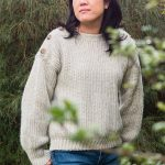 Button Top Crochet Sweater. Crafted in cream || thecrochetspace.com