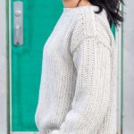 Button Top Crochet Sweater. View of the side and the shoulder area || thecrochetspace.com