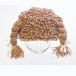 Cabbage Patch Crochet Hat. Wig with pigtails and elastic to hold in place || thecrochetspace.com