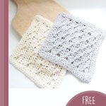 Cable Rib Crochet Dishcloth. 2x cloths, one in grey and 1x in cream || thecrochetspace.com