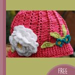 Children's Crochet Cloche Hat. Pink hat with accents || thecrochetspace.com