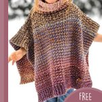 Children's Crochet Penny Poncho. Textured poncho in pinks and earttones || thecrochetspace.com