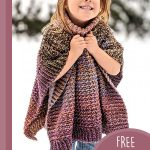 Children's Crochet Penny Poncho. Little girl in roll neck poncho || thecrochetspace.com