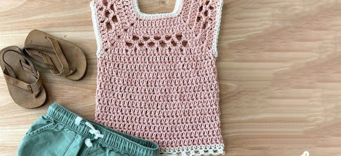 Children's Midnight Crochet Top. Childs version of Adult top. Square necked Vest, Pale Pink with white edging || thecrochetspace.com