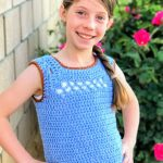 Children's Midnight Crochet Top. Childs version of Adult top. Square necked Vest, Blue with deep burgundy edging || thecrochetspace.com
