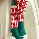 Christmas Crochet Knee Socks. Crafted in red and white to the knee and green in the foot || thecrochetspace.com