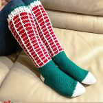 Christmas Crochet Knee Socks. Green feet with white heels and toes, and red and white to the knee || thecrochetspace.com