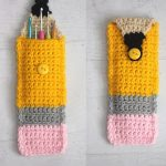 Colorful Crocheted Pencil Pouch. Button top pouch. Image of x2 open and closed    thecrochetspace.com