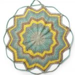 Convertible Drawstring Crochet Bag Completely Spread Out. Yellow, Brown And Green In Color. 12 Point Star || thecrochetspace.com