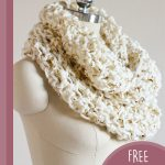Creative Crochet Infinity Scarf. Side view of scarf on a model stand || thecrochetspace.com