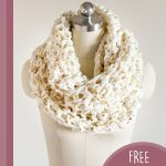 Creative Crochet Infinity Scarf. Crafted in cream and gold || thecrochetspace.com
