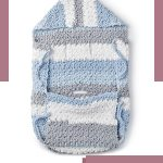 Crochet Baby Stroller Blanket. Striped, baby stroller blanket in blues and greys    thecrochetspace.com