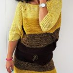 Crochet Bat Wings Dress, Front Image, 3/4 Length Sleeves || thecrochetspace.com