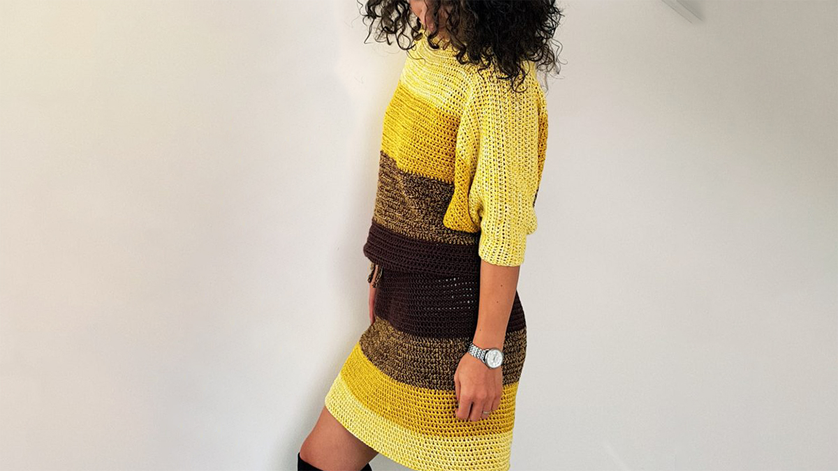 Crochet Bat Wings Dress In Fall Colors | thecrochetspace.com