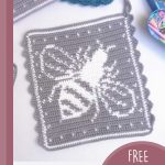 Crochet Bee Hot Pad. Grey hot pad with white bee    thecrochetspace.com