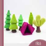 Crochet Camping Forrest Style. Green trees and a purple tent || thecrochetspace.com