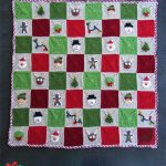 Crochet Christmas Granny Blanket. Entire afghan with applique in red, white and two shades of green colors || thecrochetspace.com