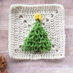 Crochet Christmas Tree Applique. Crafted in green loop stitch with yellow star on the top. Added to beige Granny Square || thecrochetspace.com