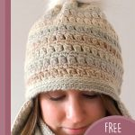 Crochet Clustered Earflaps Hat. Crafted in soft colors with pompom on top    thecrochetspace.com