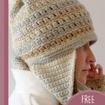 Crochet Clustered Earflaps Hat. Side view of hat crafted in browns and greys    thecrochetspace.com