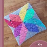 Crochet Creation Colorful Cushion. Graphic cushion with multi-colors || thecrochetspace.com