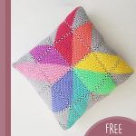 Crochet Creation Colorful. Cushion. Square cushion crafted in squares but making full use of colors || thecrochetpace.com